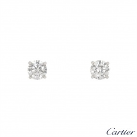 Cartier Platinum Diamond 1895 Earrings 2.01ct TDW F/VS1